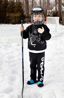 Boy Wearing Goalie Sweatpants