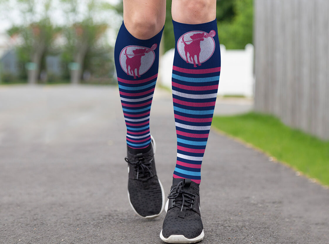 Lacrosse Dog with Stripes Printed Knee High Socks