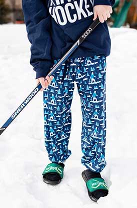 Boy Wearing Hockey Lounge Pants Yeti
