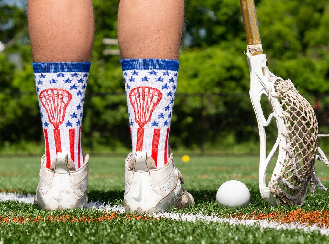 Shop our Lacrosse Patriotic Socks