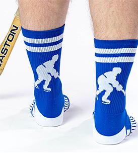 Guy Wearing Hockey Player Royal Blue Woven Mid Calf Socks